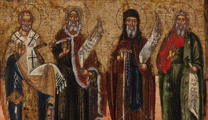 Malcove Collection: Deesis and Four Saints, 17th century, tempera, gold leaf, 40 x 31.4 x 2.9 cm. Gift of Dr. John Foreman.