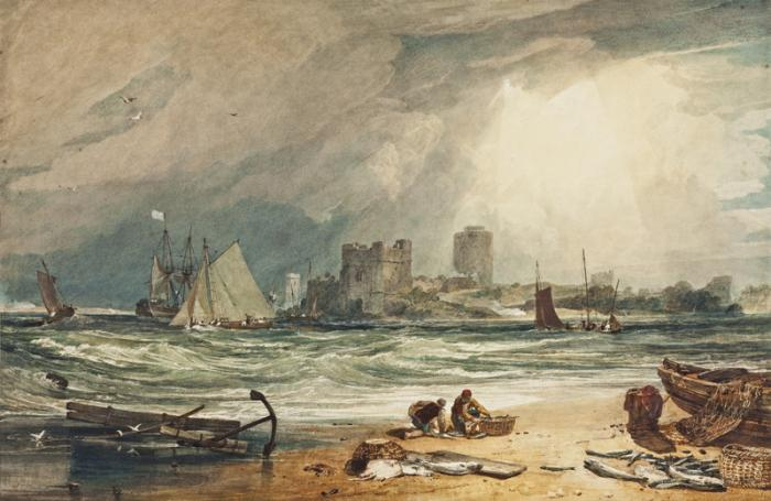 J.M.W. Turner, Pembroke Castle: Clearing up of a Thunderstorm, 1806.Watecolour gum arabic, body colour, scratching out, 67.3 x 101.1 x 0 cm. Gift of Mrs Augustine FitzGerald in 1932 in memory of her husband Augustine Fitzgerald and especially her husband's father, Mr. William FitzGerald.