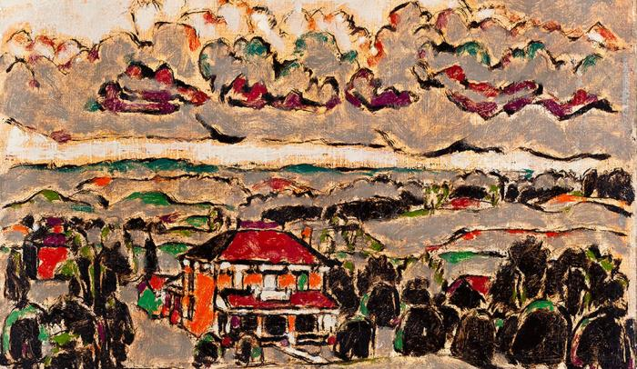 David Milne, Barn among the Hills and Brick House and Stormy Sky II [double sided canvas], nd [1932]. Oil, 66.6 x 82 cm, oil. Purchase 1943.
